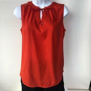 Ann Taylor SP Sleeveless Coral/Tomato Tie Neck Top